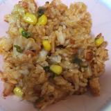 白菜キムチで✨ししとうとコーンのキムチ炒飯(^^)