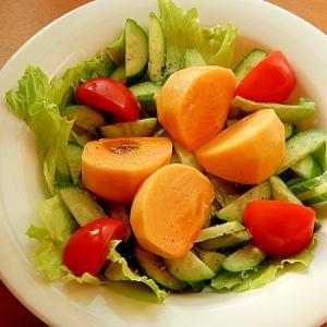 ノンオイル!柿で季節感❤グリーンサラダ♪(レモン)