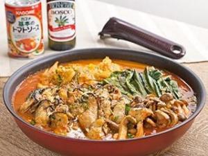 オリーブ香る!フライパンで作るカキの簡単トマト鍋
