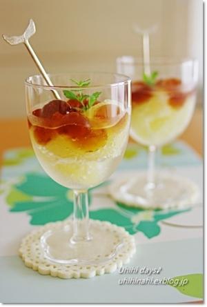 グレープフルーツとティーゼリーソーダ