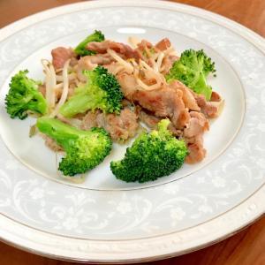 ブロッコリーともやしと豚肉の塩だれ炒め