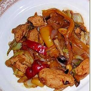 鶏肉とパプリカのバルサミコ酢炒め