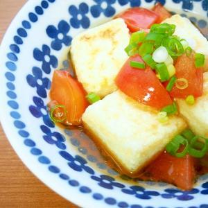 揚げ焼きで簡単!揚げ出し豆腐♪トマト入り