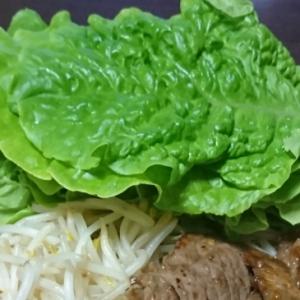 牛焼肉のサンチュ包み(超手抜き版)