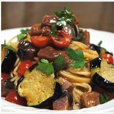 鰹のタタキとナスの冷製スパゲッティーニ