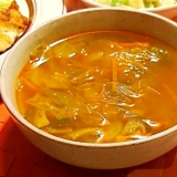 白菜のピリ辛春雨スープ