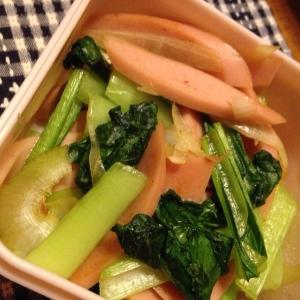 魚肉ソーセージと小松菜の中華炒め。