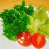 レタスとわさび菜とミニトマトのサラダ