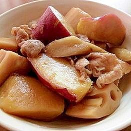 根菜をおいしく!豚肉と根菜の煮物