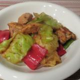 鶏肉とキャベツのキムチ炒め