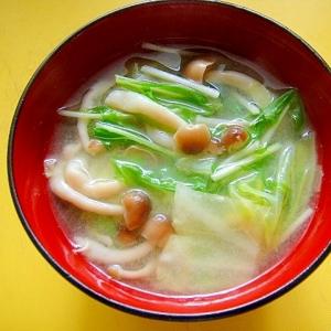キャベツとしめじ水菜の味噌汁