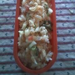 キュウリの漬け物と梅干しの炒飯