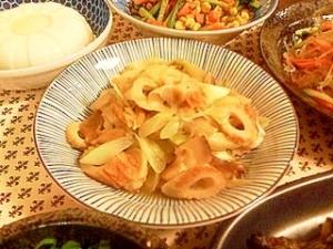 白ネギ、ちくわ、干し椎茸の煮物