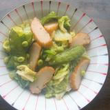 白菜と絹さやと薩摩揚げの煮物