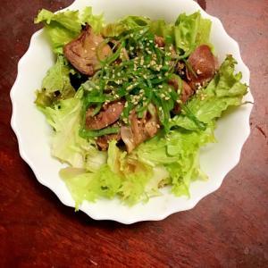 砂肝とサンチュの下仁田葱サラダ。