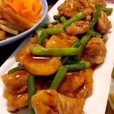 にんにくの芽&鶏肉の甘辛中華炒めです☆後引く旨さ♪