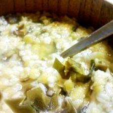 押し麦とレンズ豆のぞうすい