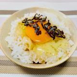ごま油と塩昆布で『卵かけご飯』