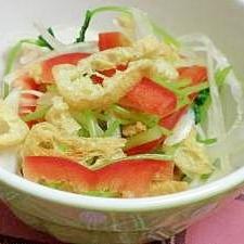 カリカリ&シャキシャキ♪油揚げと新玉ねぎのサラダ