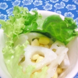 蓮根とコーンのサラダに塩ドレヨーグルト