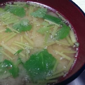 おからパウダー入り野蒜の味噌汁