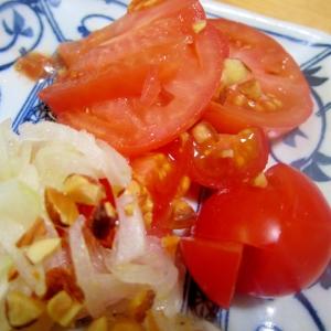 トマトと酢玉葱漬けのアーモンドサラダ