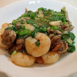 創味で エビと舞茸と小松菜のとろみ炒め