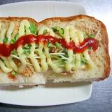 カイワレ大根&玄米フレークのマヨケチャプトースト