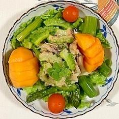 ゴーヤ、アスパラ、セロリ、柿のサラダ