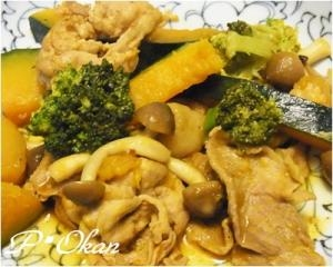 カロチンたっぷり☆カボチャとブロッコリーの炒め物