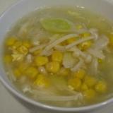 塩鶏のゆで汁で、具だくさんコーン春雨スープ