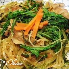 簡単☆豚肉と水菜のチャプチェ