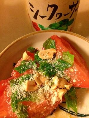 トマトの大葉とナッツの小皿