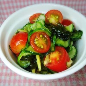 葉生姜入り!ミニトマトときゅうりの簡単酢の物