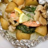 野菜もりもり栄養満点☆簡単鮭のホイル蒸し