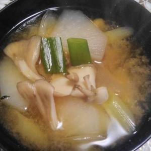 大根 長ネギ 舞茸の味噌汁