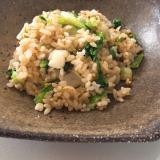 玄米で♬ ニンニクと青梗菜のチャーハン