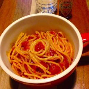 簡単節約ランチ★パセリとトマトのスパゲティ