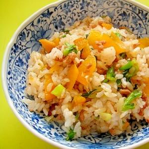 つぼ漬とひき肉菜の花の昆布茶チャーハン