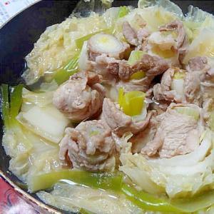 長ネギの豚肉巻きと白菜の中華風鍋