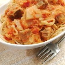 鶏とカブのトマトクリームスパゲティ