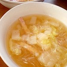 超ヘルシー!大根と白菜の春雨スープ