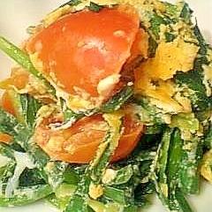 ニラとトマトの中華風卵炒め