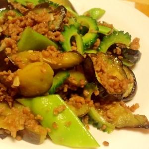 夏野菜たっぷりの挽き肉炒め