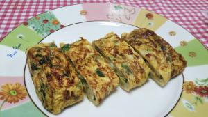 竹輪と小松菜の卵焼き☆