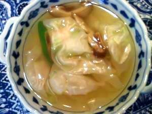 暖まる~生姜スープ海老ワンタン入り