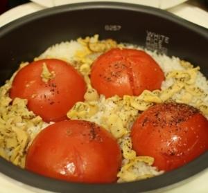 炊飯器で簡単トマトまるごと御飯