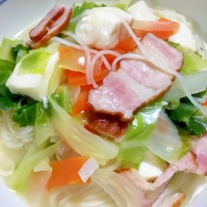 鍋ひとつで野菜たっぷりコンソメ仕立ての素麺♪