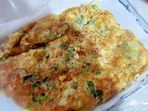 海老と葱とブロッコリー長芋とオクラのお好み焼き