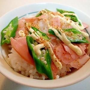 麺つゆ/マヨ/アマニで ロースハムとオクラのご飯